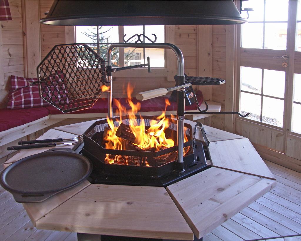 1plus feuerstelle grill partygrill le n achteckig mit funkenschutz grillrost sch rhaken und. Black Bedroom Furniture Sets. Home Design Ideas